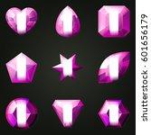 set of gemstones with different ... | Shutterstock .eps vector #601656179