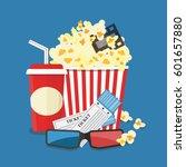 popcorn and drink. cinema movie ... | Shutterstock .eps vector #601657880
