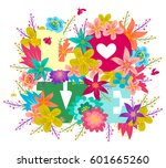 vector poster with colorful... | Shutterstock .eps vector #601665260