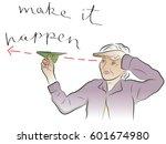 make it happen lettering. hand... | Shutterstock .eps vector #601674980