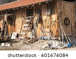 Wooden Shed With Tools And...