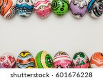 colorful egg in painting style... | Shutterstock . vector #601676228