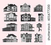 houses front face view vector... | Shutterstock .eps vector #601677200