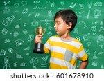 indian small school kid holding ... | Shutterstock . vector #601678910