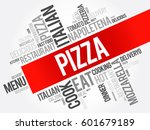 pizza word cloud collage  food... | Shutterstock .eps vector #601679189