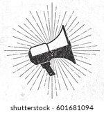 vintage megaphone with sunburst ... | Shutterstock .eps vector #601681094