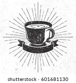 vintage coffee cup with scroll... | Shutterstock .eps vector #601681130