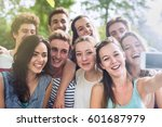 group of young people having... | Shutterstock . vector #601687979