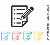 clipboard pencil vector icon.... | Shutterstock .eps vector #601692536