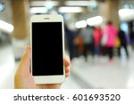 hand holding smartphone with... | Shutterstock . vector #601693520