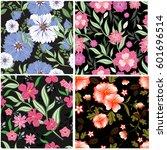 vector seamless pattern flowers ... | Shutterstock .eps vector #601696514