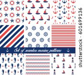 set of seamless marine patterns.... | Shutterstock .eps vector #601699136