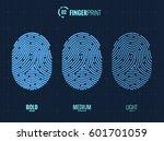 vector fingerprint icons set ... | Shutterstock .eps vector #601701059