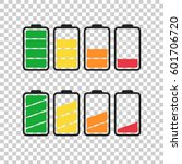 battery icon vector set on... | Shutterstock .eps vector #601706720