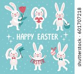 Stock vector set of six cute easter rabbits vector collection of smiling bunny with text happy easter 601707218