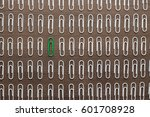 bright green paper clip unique... | Shutterstock . vector #601708928
