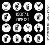 cocktail vector icons set in... | Shutterstock .eps vector #601719734