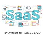 saas   software as a service ... | Shutterstock .eps vector #601721720
