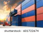 forklift handling container in... | Shutterstock . vector #601722674