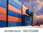 forklift handling container in...   Shutterstock . vector #601722680