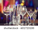 Different glassware on blurred...