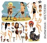 prehistoric ancient people | Shutterstock .eps vector #601725350