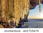 ice build up in the grotto on... | Shutterstock . vector #601725674