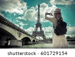 woman tourist selfie near the... | Shutterstock . vector #601729154