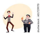two french mimes  young and old ...