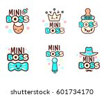 cute kawaii emoticons with baby ... | Shutterstock .eps vector #601734170