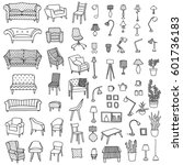 vector set of hand drawn... | Shutterstock .eps vector #601736183