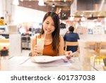 woman enjoy her drink and... | Shutterstock . vector #601737038