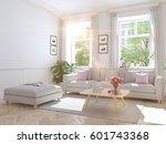 3d rendering. modern living... | Shutterstock . vector #601743368