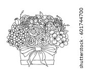 vector monochrome sketch ... | Shutterstock .eps vector #601744700