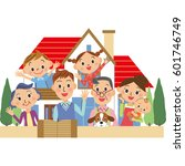three generation family and... | Shutterstock .eps vector #601746749