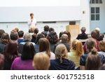female speaker giving... | Shutterstock . vector #601752518