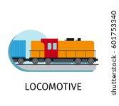 vector locomotive in flat style ... | Shutterstock .eps vector #601753340