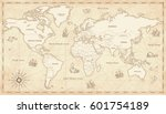Stock vector great detail illustration of the world map in vintage style with all countries boundaries and names 601754189