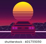 retro future  80s style sci fi... | Shutterstock .eps vector #601755050