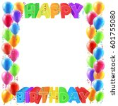 a balloons and happy birthday... | Shutterstock . vector #601755080