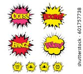 comic boom  wow  oops sound... | Shutterstock . vector #601757738
