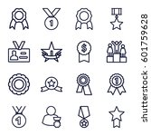 medal icons set. set of 16... | Shutterstock .eps vector #601759628