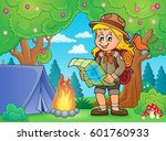 scout girl theme image 5  ... | Shutterstock .eps vector #601760933