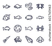 seafood icons set. set of 16...