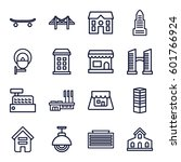 city icons set. set of 16 city... | Shutterstock .eps vector #601766924