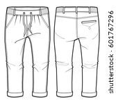 front and back view of joggers...   Shutterstock .eps vector #601767296