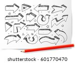 doodle sketch arrows on white... | Shutterstock .eps vector #601770470