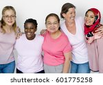 Small photo of Group of Multiethnic Women Wear Pink Shirt