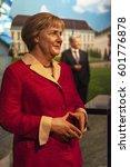 Small photo of Berlin, Germany - March 2017: Angela Merkel wax figure in Madame Tussauds city museum