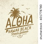 aloha. hawaii  summer concept... | Shutterstock .eps vector #601778780